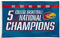 Rico Industries, Inc. Kansas Jayhawks 3x5 Flag Banner 5X Time Basketball Champions with Metal Grommets Outdoor House University of [並行輸入品]