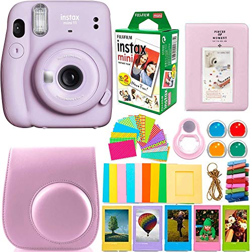 Fujifilm Instax Mini 11 Camera with Instant Film (20 Sheets) & DNO Accessories Bundle Includes Case, Filters, Album, Lens, and More (Lilac Purple)