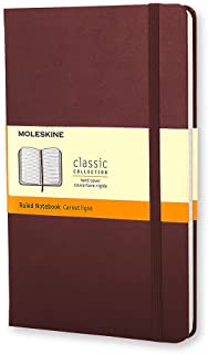 """Moleskine Classic Notebook, Hard Cover, Large (5"""" x 8.25"""") Ruled/Lined, Amaranth Red, 240 Pages"""