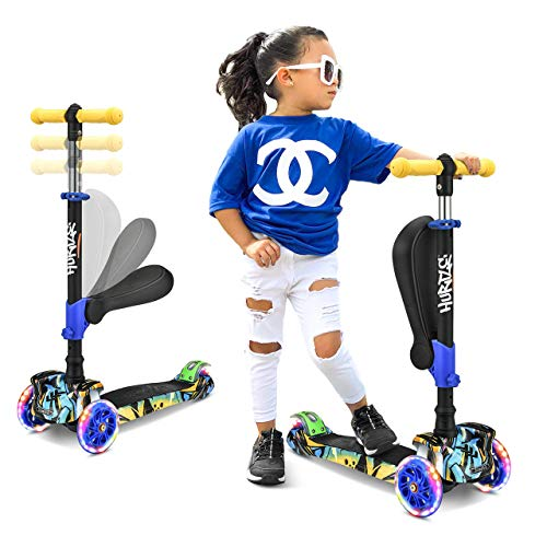 Adjustable 3 Wheeled Scooter for Kids with Wheel LED Lights