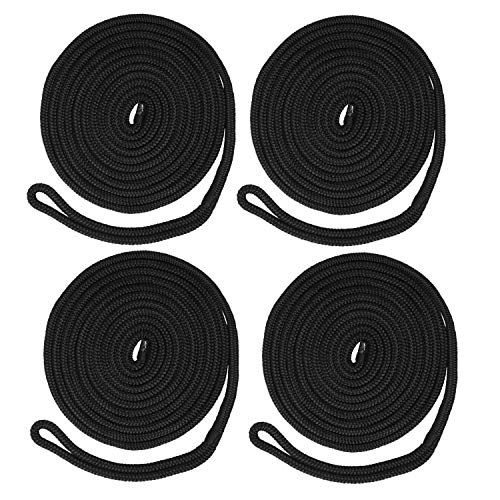 NovelBee 4 Pack of 1/2 Inch x 15 Feet Double Braid Nylon Dockline,Mooring Rope Dock Line with Spliced Soft Eye,Working Load Limit 968 lbs,Breaking Strength 4,840 lbs (4pcs,Black)