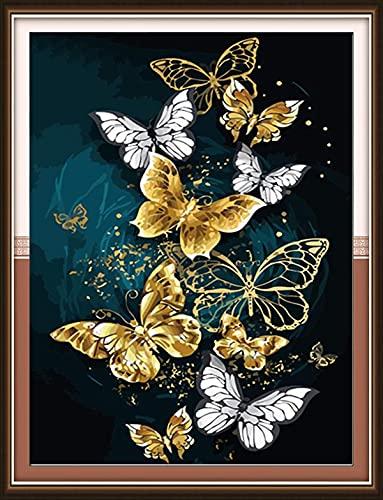 KAMIERFA Kreuzstich Stickpackungen Vorgedruckt 11CT DIY Stickerei Bilder Set Anfänger Kreuz Nähen Handarbeit Cross Stitch Kit 35x50cm Goldene Schmetterlinge