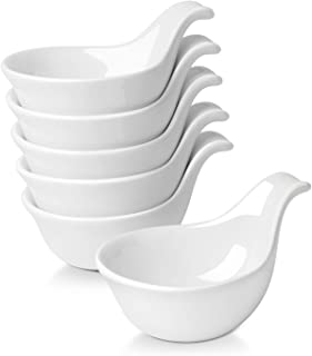 Flexzion Porcelain Dipping Bowls Ramekins, Ceramic Serving Spoons Sauce Holders with Grip Handle for Appetizers Small Side Dishes Soy Sauce Dips - 3 oz, Set of 6, White