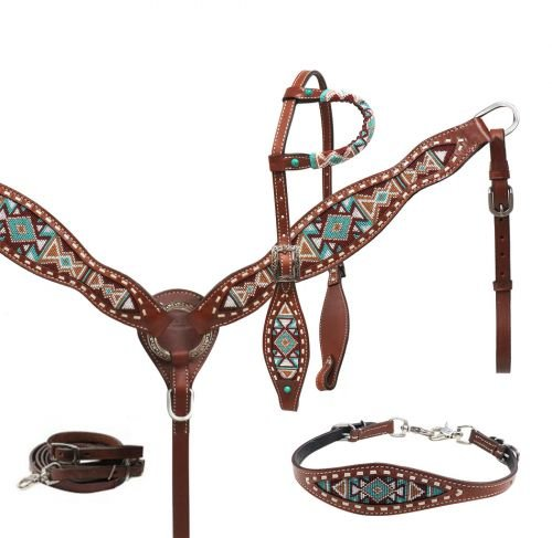 Showman Multi Color Navajo Beaded Leather Headstall, Breast Collar & Wither Strap Set! New Horse TACK!