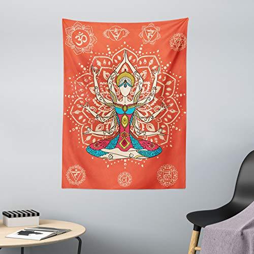 ABAKUHAUS Yoga Wandteppich Philosophische Lehre Joga Kulturen ausgeübte spirituelle Praxis Meditation Druckaus Weiches Mikrofaser Stoff 110x150cm Dekoration für das Wohnzimmer Rot und Blaugrün