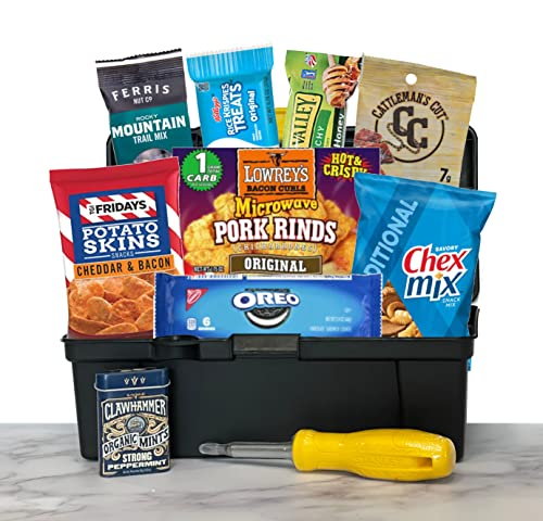 Gift basket for men - food gifts for men - toolbox with chips, nuts,...