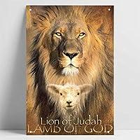 ユダの獅子の子羊の神の宗教のポスタースズの絵のマークの金属の看板のバーの家庭の壁は旧式の金属のポスターを飾ります