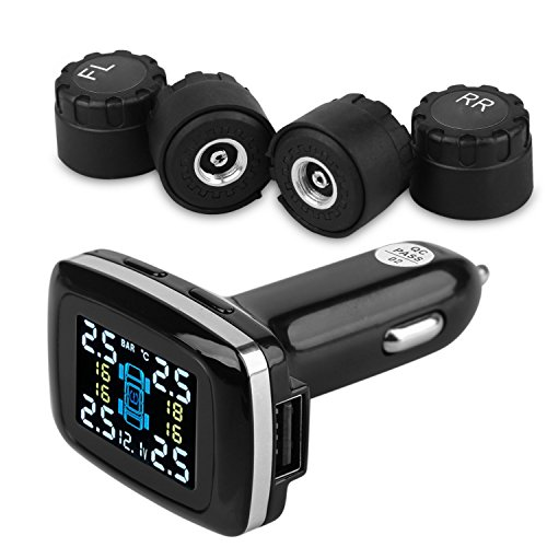 B-Qtech DIY Tire Pressure Monitoring System, Wireless TPMS with 4 External Sensors, Cigarette Lighter Plug LCD Display with Tire Pressure, Temperature Gauge and Battery Voltage(0 to 50.75 Psi)