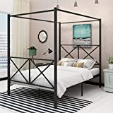 Canopy Bed Frame Metal Four Post Canopy Full Bed Cozy Bedroom with Reinforced Lron Frame Bed Good Installation Black Bed with Headboard and Footboard