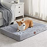 WNPETHOME Orthopedic Large Dog Bed, Chew Proof Dog Bed for Large Dogs with Egg Foam Crate Pet Bed with Soft Rose Plush Waterproof Dog Bed Cover Washable Removable(Dog Bed Large 36 x 27 x 3 inch Grey)