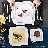 MALACASA, Serie Elvira, 60 TLG. CremeWeiß Porzellan Geschirrset Kombiservice Tafelservice mit Tassen, Untertassen, Dessertteller, Suppenteller und Flachteller für 12 Person - 6