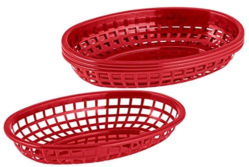 FMprofessional Servierkörbchen, Korb aus Kunststoff zum Servieren, hochwertige Körbchen für Speisen, Brotkorb (Farbe: Rot), Menge: 4 Stück