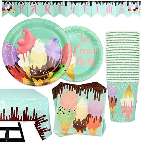 82 Piece Ice Cream Party Supplies Set Including Banner, Plates, Cups, Napkins, and Tablecloth, Serves 20