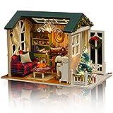 GuDoQi Casa en Miniatura con Música para Construir, Kit de Manualidades DIY, Miniatura de la Casa de Muñecas, Regalos Hechos a Mano para Cumpleaños y Navidad, Feliz Navidad