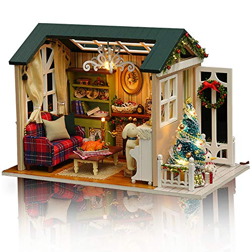 GuDoQi DIY Puppenhaus Miniatur Kit, 3D Hölzernes Puppenhaus Bausatz mit Möbeln und Musik und LED-Licht, Handwerk Miniatur Modellbausätze für Frauen und Sammler, Urlaub Traumhaus