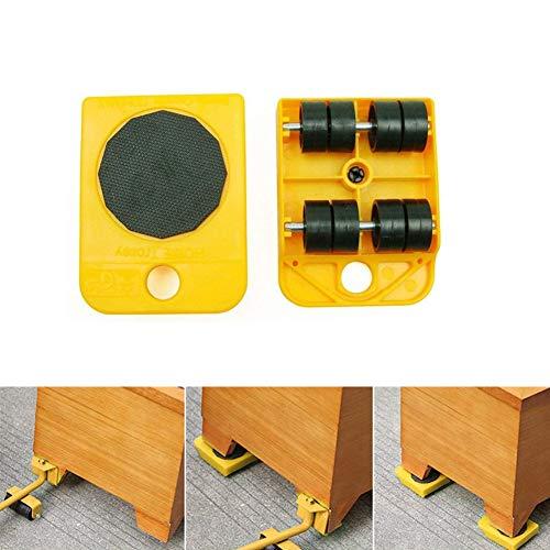 516+O1A6cKL - WeFoonLo 1 juego de muebles elevador Herramienta de elevación y movimiento de muebles para electrodomésticos pesados, 1 barra de elevación y 4 rodillos móviles para muebles (Amarillo)