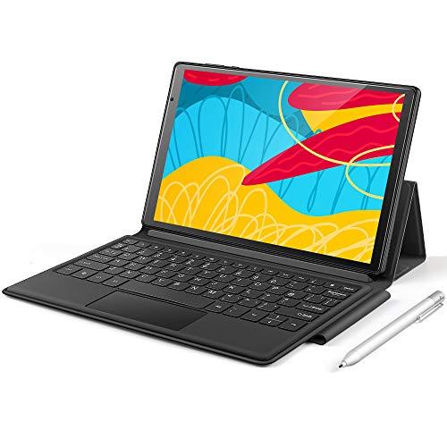 P31-E Tablet de 10 pulgadas con Octa-Core 4 + 64 GB, Android 10 Tablet con 4G LTE + WiFi SIM, 5 + 13 MP 1080P FHD, altavoces duales, teclado y lápiz