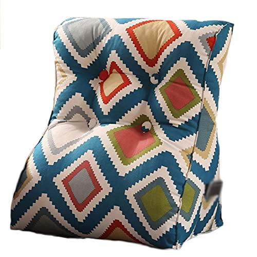 LICHUAN 45 x 55 cm, cojín triangular, cojín trasero de cuña para sofá, cama, oficina, silla, cojín de reposo de cama, almohada (color: C, tamaño: 55 x 30 x 60 cm)