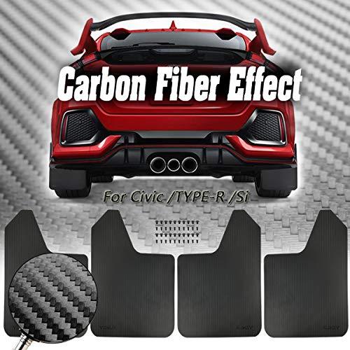XUKEY Sporty Mud Flaps For Honda Civic/Type R/Si Sedan/Hatchback/Coupe Mudflaps Splash Guards Mudguards Carbon Fiber Effect SET-4PCS