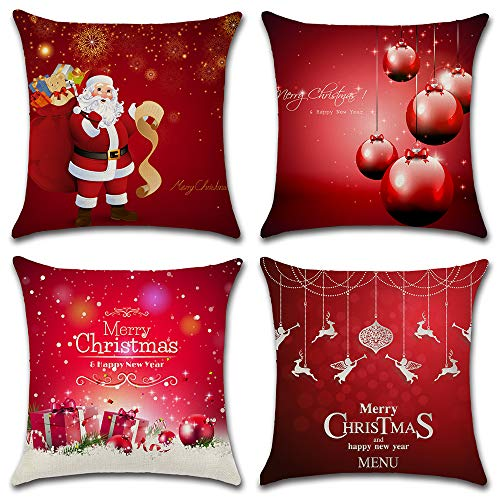 HuifengS Feliz Navidad y próspero año Nuevo Fundas de cojín de algodón Fundas de Almohada de Lino Sofa Decoración de casa Throw Pillow Case 4 Piezas, 45 x 45 CM