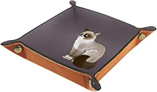 Leather Valet Tray Organizer Grumpy Cat, Men Women Jewelry Catchall, Desk Storage Plate for Watches Keys Coins Phone Wallet