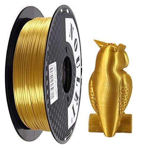 Noulei Filament PLA pour imprimante 3D 1.75 mm, Shiny 3D Printing Filament Silk Gold Bobine 500g