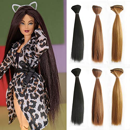 CliCling 6pcs/lot Doll Making Hair Wefts for Handcraft DIY Dolls Hair 8x40inch Long Straight Synthetic Doll Hair for Rerooting BJD/SD/Bly Wigs (8 inch, 5101-1B 27 6)