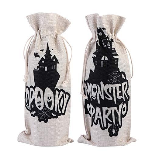 Cabilock 2 bolsas de lino de arpillera con cordón para botella de vino o champán, para regalo o dulces, para Navidad, boda, fiesta de cumpleaños