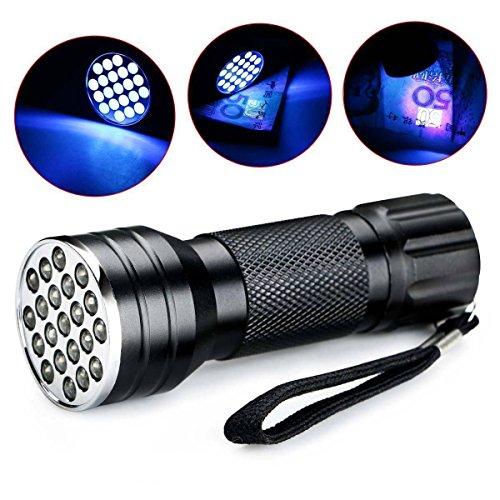 Luz negra, mini linterna UV, 21 LED 395 nm detector de luz ultravioleta para orina de perro, manchas de mascotas y chinches