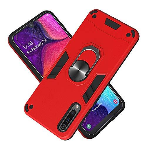 Funda para Samsung Galaxy A50 Soft TPU + Duro PC Doble Parachoques Cubierta a Anillo Soporte con Soporte y Carcasa Desmontable, Funda Protectora Serie Armadura (Rojo)