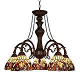 Capulina Handcrafted Tiffany Glass Chandelier, 5 Lights Tiffany Ceiling Light Fixture, Victorian Lampshade Dinning Room Lighting Fixtures Hanging, Antique Kitchen Lights CL078802-5CP