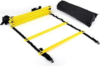 Tbest agility stege hastighet träningsutrustning, hastighet smidighet träningsstege 12 justerbara platta ringar 6 m med bä...