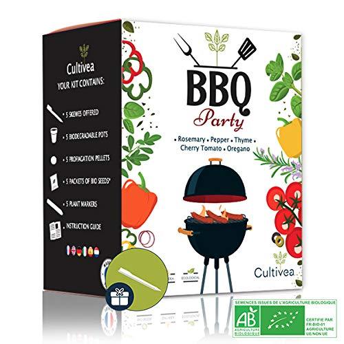 Cultivea Mini - Kit BBQ Party listo para cultivar - Semillas 100% ecológicas y orgánicas - Cultiva y disfruta - Idea para regalo (Romero, Tomillo, Orégano, Tomate cherry, Pimiento)