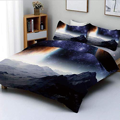 Totun Bettbezug-Set, Science-Fiction von Galaxy Nature Milkyway AtmosphereDecorative 3-teiliges Bettwäscheset mit 2 Kissenbezug, Kinder und Erwachsene Pflegeleicht Antiallergisch Soft Sm