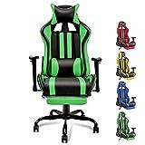 Soontrans silla gaming con reposapies ergonómica silla gamer computadora oficina con reposacabeza apoyo y cojín lumbar, reposabrazos ajustable, para los jugadores de pc gamer (verde-negro)