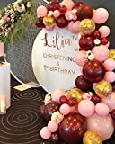 126Pcs Burgundy Maroon Pink Gold Balloons, Balloon Arch Garland Kit, Wedding Birthday Baby Shower Bachelorette Engagement Anniversary Party Decorations for Women Girl