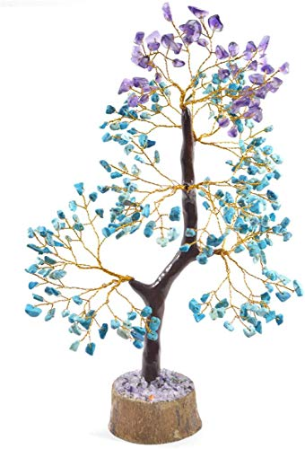 FASHIONZAADI Turquoise and Amethyst Gemstone Money Crystal Tree Feng Shui Bonsai Trees for Chakra Stone Healing Crystals Home Office Living Room Décor Spiritual Gift Size -10-12 Inch (Golden Wire)