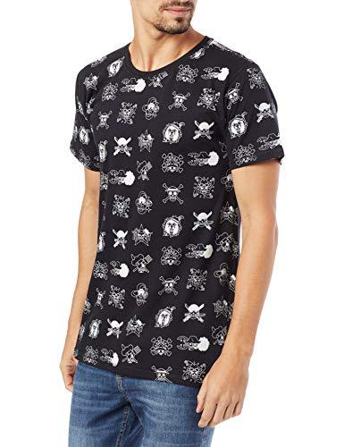 Camiseta One Piece Caveira, Piticas, adulto e infantil unissex, Preto, M