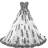 Vintage Gothic Black Lace Ball Gown Long Prom Dresses Wedding Gowns White US 14 (Apparel)