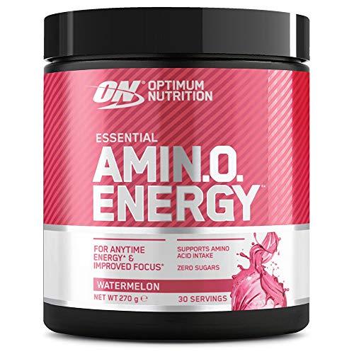 Optimum Nutrition ON Amino Energy Pre Workout Booster, Zuckerfrei Energy Drink Pulver mit Beta Alanin, Vitamin C, Koffein, Aminosäuren, Watermelon, 30 Portionen, 270g, Verpackung kann Variieren