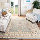 Safavieh Antiquity Collection AT822A Handmade Traditional Oriental Wool Area Rug, 9' x 12', Grey Blue/Beige