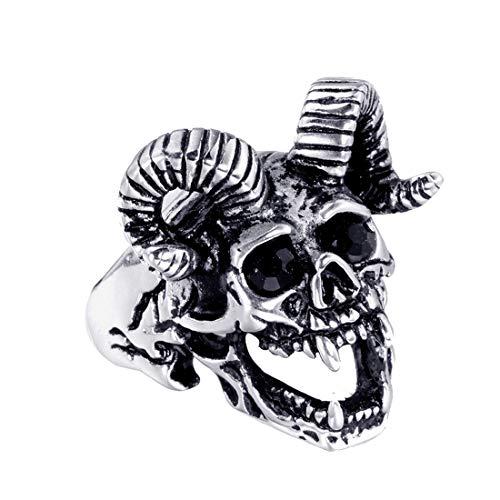 HIJONES Gótico Cráneo Oveja Cabra Cuerno Anillo para Hombre Acero Inoxidable con Negro Zirconia Cúbica Ojo Plata Talla 17