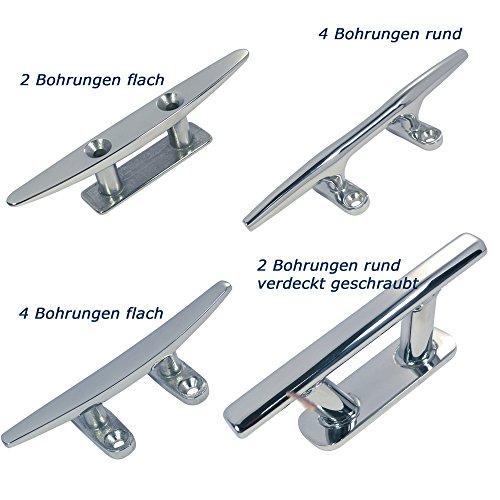 Klampe Belegklampe Festmacherklampe 100-300 mm Edelstahl A4-AISI 316 (4 Bohrungen flach, 200mm)