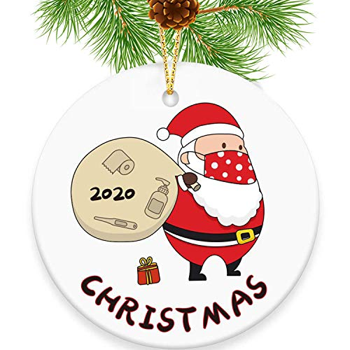 2020 Funny Christmas Ornament Quarantine, Merry Christmas Masked Santa Claus Toilet Paper Tree Ornament, Masked Xmas for Friends and Families with Gift Box(Santa Claus)