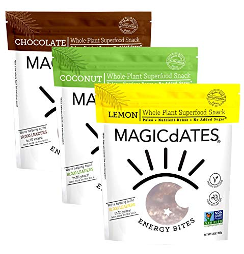 Date Variety Pack Snack Bites, 3 pack 3.5 oz (Chocolate, Lemon & Coconut) - Plant-Based Superfood, Gluten-Free, Non-GMO, No Added Sugar- Improve Your Gut Health