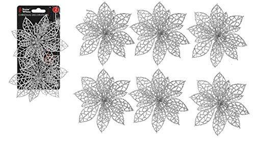 Snow White 6 x Plastic Clip On Silver Poinsettia Christmas Tree Decoration