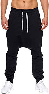 Dainzuy Men's Joggers Gym Track Sweatpants Elastic Long Casual Sport Pants Slim Fit Running Trousers with Pockets