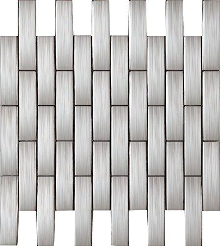 Striscia Mosaico Arcuato Art Deco metallo mosaico acciaio inossidabile Mosaico muro300*300mm--Cucina Backsplash/Parete da bagno/decorazione domestica(SA202) (1 tappetini (300*300mm), SA202)