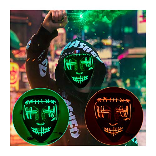 VANGETIMI Scary Halloween Skull Mask Cosplay LED Light Up Mask Purge Mask Costume EL Wire Mask Glowing in The Dark Mask Party Festival Masquerade Carnival Halloween Mask for Men Women Boys Girls Kids
