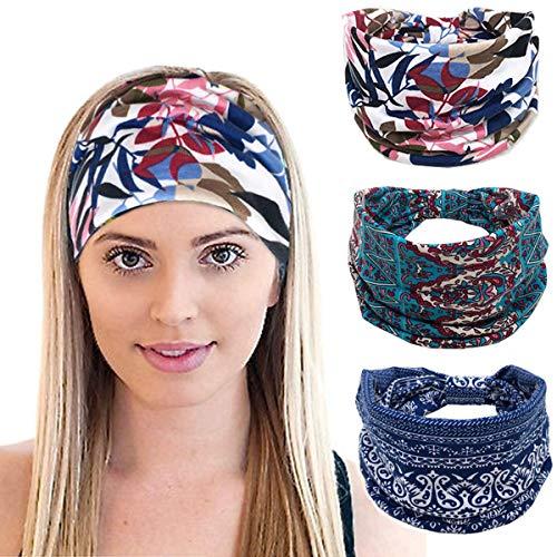 K-Elewon 3 Pack Women Wide Elastic Head Wrap Headband Sports yoga Hair Band(3 Pack(A15))